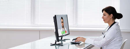 Medical Doctor Using Online Elearning Video Conference Technology