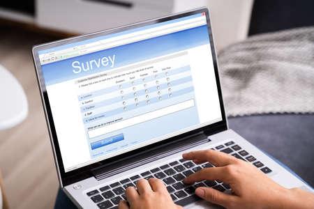 Woman Looking At Online Survey Laptop Computer At Home Reklamní fotografie
