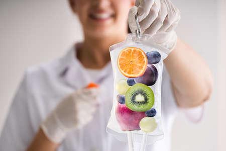 IV Drip Vitamin Infusion Therapy Saline Bag Archivio Fotografico