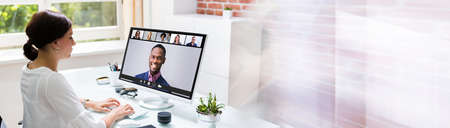Online Video Conference Call. Remote Webinar Meeting Banco de Imagens