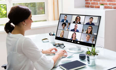 Online Video Conference Call. Remote Webinar Meeting Banque d'images