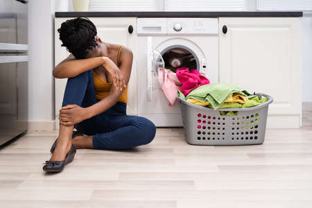 Washing Machine Distressed Sad Frustrated African Woman