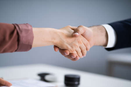 Recruit Manager Handshake At Job Interview Meeting
