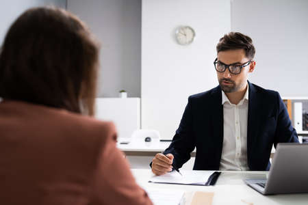 Job Interview. Business Manager Talking To Recruiter In Meeting