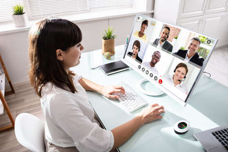 Woman In Video Conference Business Call. Videoconference Meeting