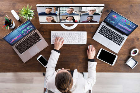 Video Conference Interview Meeting Or Elearn Webinar Stock fotó