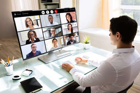 Video Conferencing Business Chat. Businessman Conference Webinar