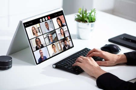 Businesswoman In Video Conferencing Business Meeting Chat