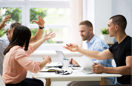 Workplace Business Conflict Blaming, Bullying And Employee Fight