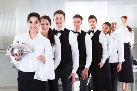Diverse Hotel Staff And Hospitality Employee Group Foto de archivo