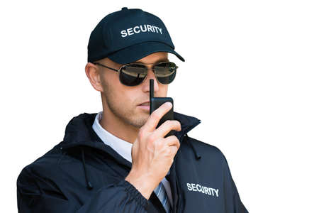 Security Guard Man Service. Defense And Protection Stock Photo