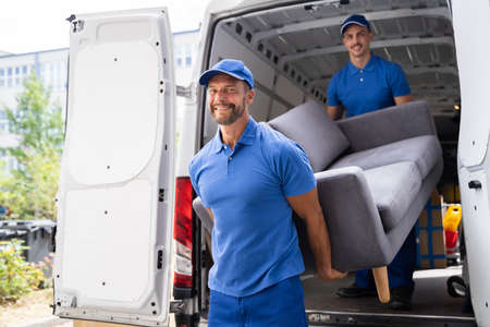 Furniture Move, Removal Delivery Near Truck Or Van Stock Photo