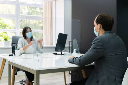 Job Interview Business Meeting At Law Office Wearing Face Mask