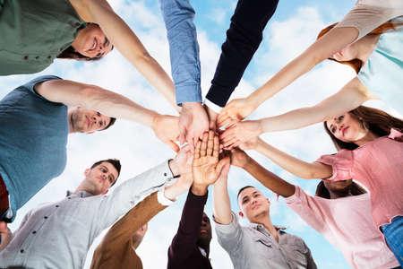 Team Spirit Business Huddle. People Diversity. Group Together
