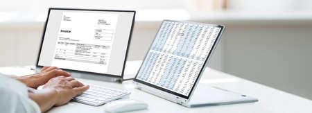 Woman Analyzing Digital E Invoice Using Online Software Stock Photo
