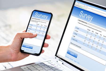 Close-up Of A Businesswoman Hand Filling Online Survey On Mobile Phone Standard-Bild
