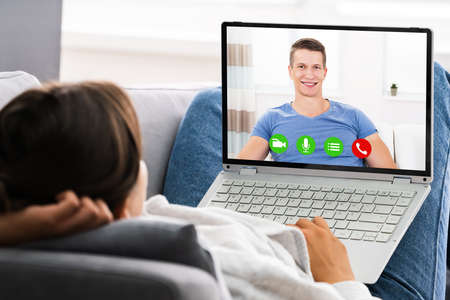 Online Dating Video Conference Call On Computer