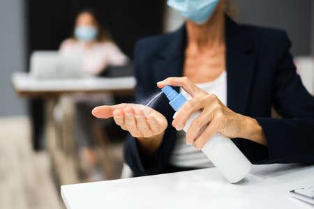 Woman Using Alcohol Rub Gel Or Handwash Disinfectant Stock Photo