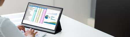 Spreadsheet Data Business Work On Office Tablet
