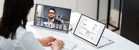 Video Conferencing Webinar Meeting. Watching Online On Multiple Screens Reklamní fotografie