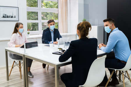 Face Mask Office Social Distancing Meeting Or Interview