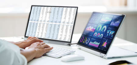 Analyst Employee Working With Spreadsheet Report On Laptop Screen
