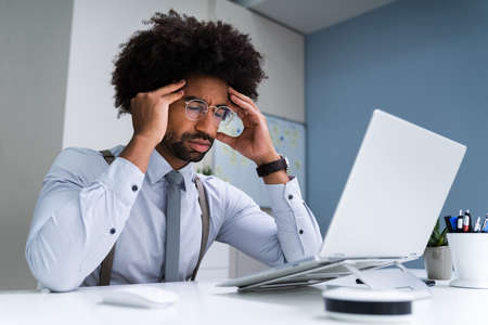 African Business Man Upset And Worry Or Bored Or Stressed