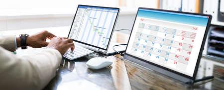 Gantt Schedule Plan On Laptop Screen In Office