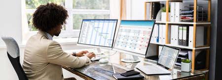Gantt Schedule Plan On Computer Screen In Office