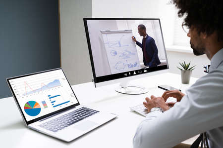 Virtual Online Training Conference With Coach. Remote Webinar Stock Photo
