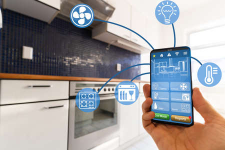 Smart Kitchen Home Automation Control Tech Features 스톡 콘텐츠
