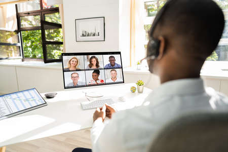 Online Work Video Conference Or Webinar On Computer