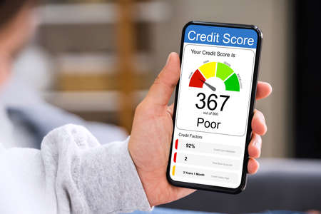 Poor Online Credit Score Rating On Smartphone