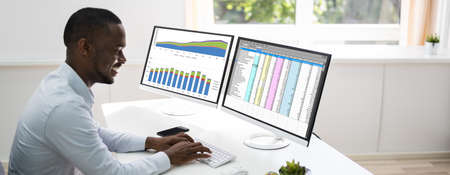 African American Business Data Analyst Using Analytics Software