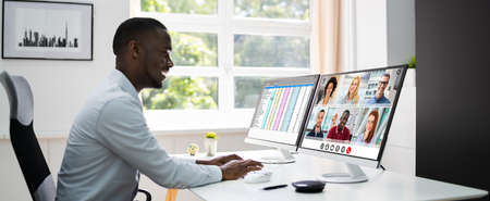 African Man Video Conference Business Call On Computer Screen