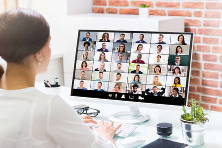 Online Video Conference Business Meeting Call Or Webinar Stockfoto