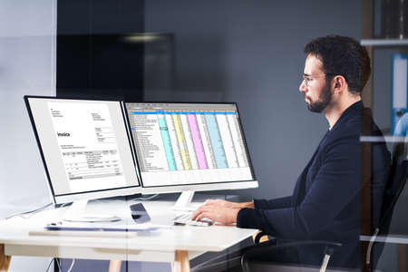 E Invoice Computer Audit On Multiple Screens Banner
