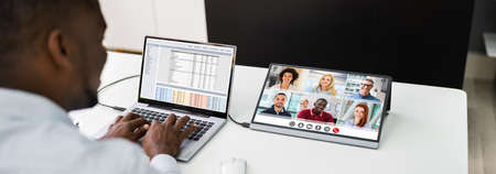 Man Video Conference Business Call On Computer Screen