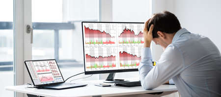 Financial Loss Data. Businessman With Stock Loss And Decrease Chart