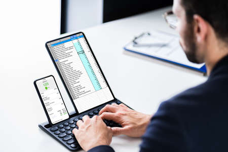 E Invoice Computer Audit On Mobile Phone And Tablet
