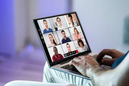 Video Conferencing Webinar Chat Or Videoconference On Laptop Archivio Fotografico