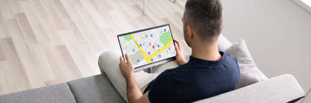 Online GPS Location Map Search On Tablet Computer