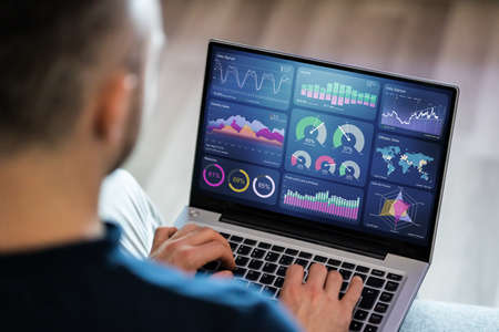 Analytics Dashboard And Information Technology On Laptop
