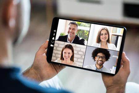 Video Conferencing Webinar Chat Or Videoconference On Tablet