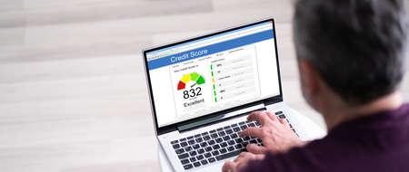 Checking Credit Score Ranking On Laptop Computer