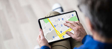 Looking Up Online GPS Location Map On Tablet