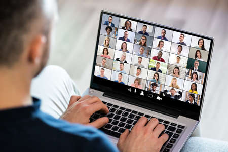 Video Conferencing Webinar Chat Or Videoconference On Laptop