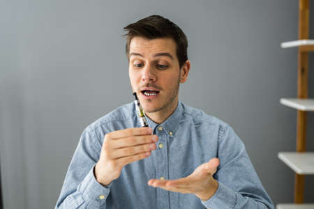Smoking Electronic Cigarette In Video Conference Call