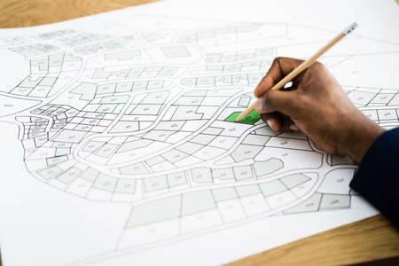 Land Map And Urban Building Project Plan Or Plot