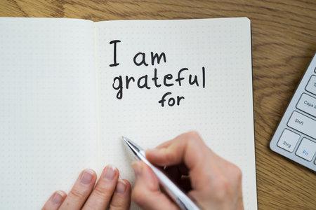 Gratitude Journal. Writing I Am Grateful Concept